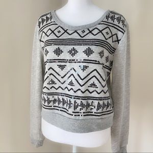 Forever 21 long sleeve Sequin Sweatshirt Xs gray